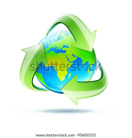 Vector illustration of blue glossy earth globe with green recycle symbol