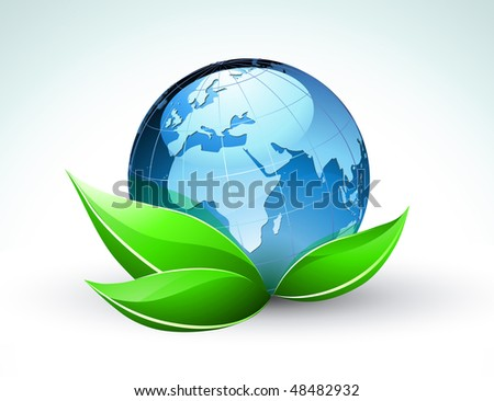 Vector illustration of blue Glossy Earth Map Globe with funky green leaves - stock vector