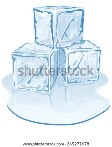 Vector illustration of blue half-melted ice cube pile - stock vector
