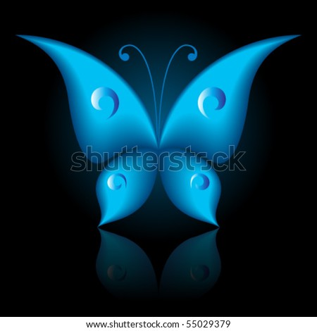 Vector illustration of blue icon simply butterfly on black background