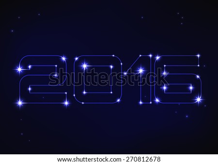 Vector illustration of blue number 2016 in style of constellation   - stock vector