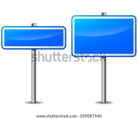 Vector illustration of blue rectangular road signs on white background - stock vector