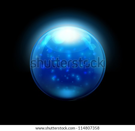 Vector illustration of blue refracting Glass marbles/button sphere - stock vector