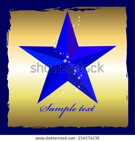 Vector illustration of Blue star on a gold with blue frame. Superstar. - stock vector