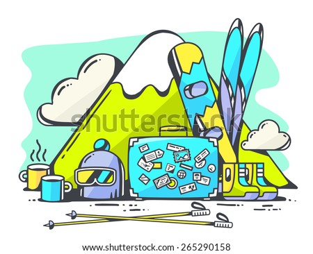Vector illustration of blue suitcase and winter travel accessories on green background. Hand draw line art design for web, site, advertising, banner, poster, board and print. - stock vector