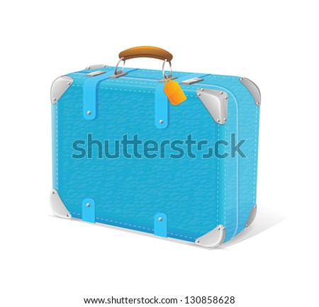 Vector illustration of blue travel suitcase - stock vector