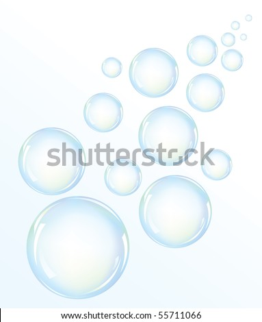 Vector illustration of blue water bubbles - stock vector