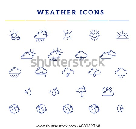 Vector illustration of blue weather theme icon set on white background with title. Thin line art flat weather design for web, site, widget, interface and mobile application