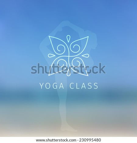 Vector illustration of Blured background with yoga logo - stock vector