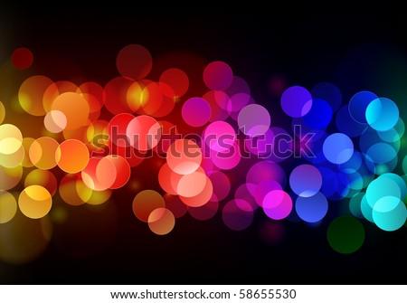 Vector illustration of blurred neon disco light dots pattern on dark background - stock vector
