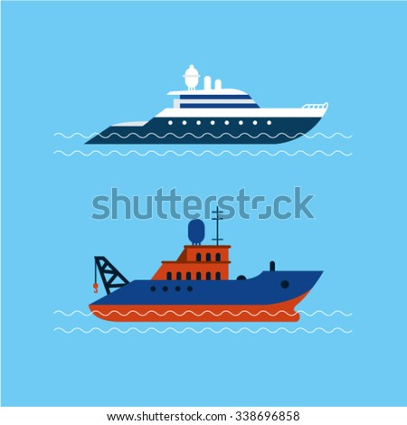 Vector illustration of boats with blue sea background - stock vector