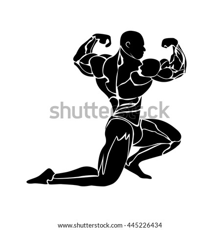 vector illustration of bodybuilding concept, flat style