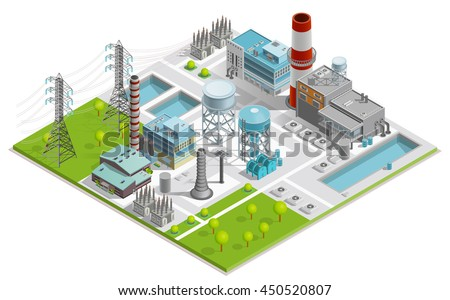 Vector illustration of boiler factory for production of thermal and electrical energy with power line supports isometric concept  - stock vector