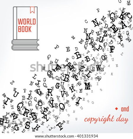 copyright template for book - vector illustration alphabet background design website