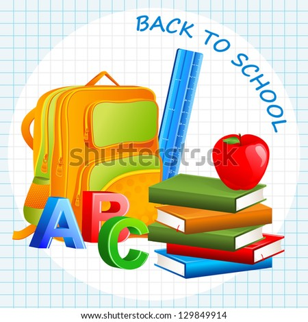 vector illustration of book, bag and apple in education background - stock vector
