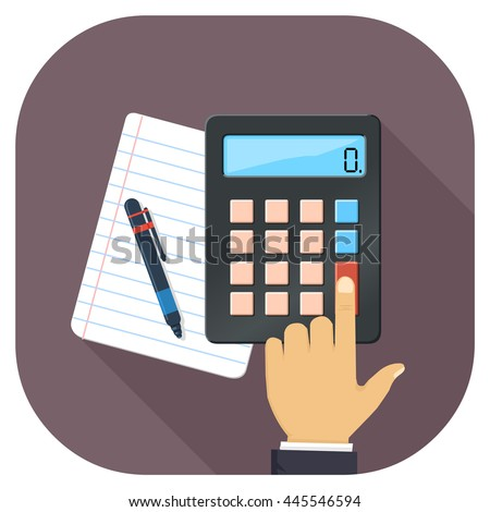 Vector illustration of Book keeping and tax accounts flat icon. Accounting intent icon long shadow. Finances icon. - stock vector