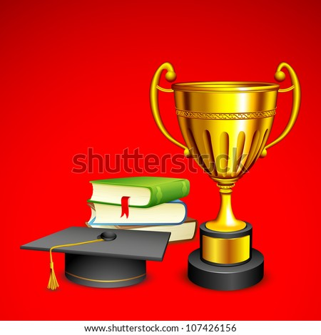 vector illustration of book with mortar board and trophy