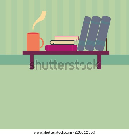 Vector illustration of Bookshelf with books and cup of tea in style flat