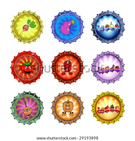 Vector illustration of bottle caps set, decorated with different vegetables and fruits. - stock vector