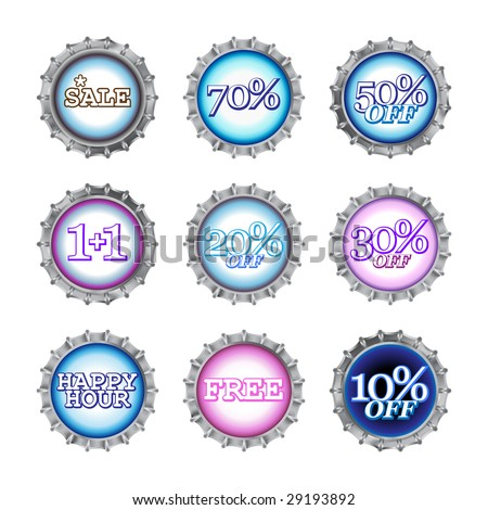 Vector illustration of bottle caps set with different kind of sales. - stock vector
