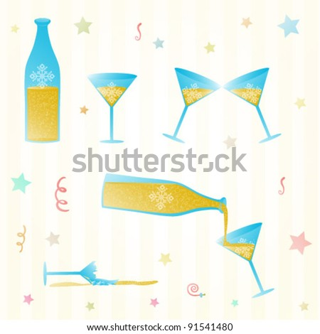 Vector illustration of bottle, champagne and glasses