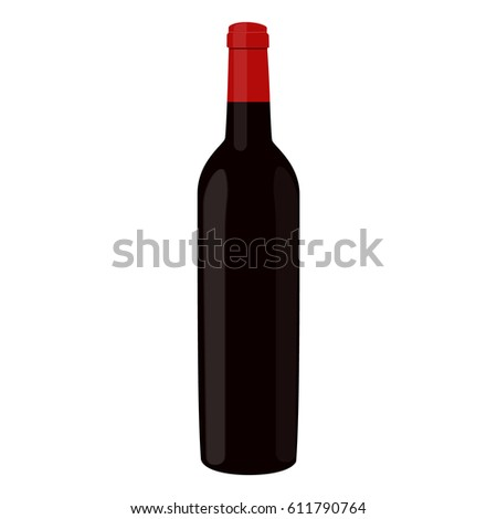 Vector illustration of bottle full with red wine. Bottle of alcohol icon