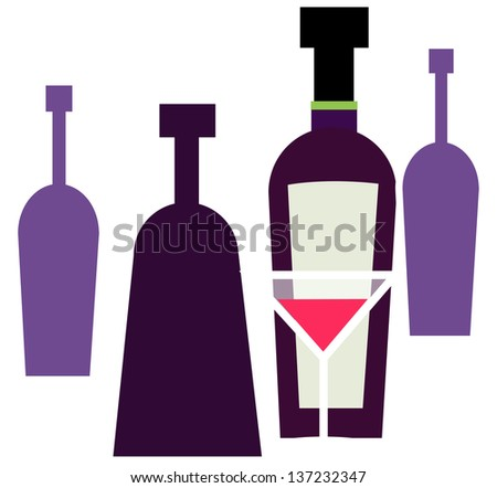 Vector illustration of  bottles