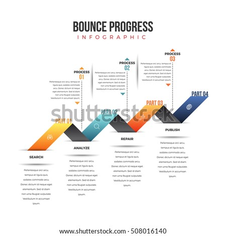 Vector illustration of bounce progress infographic design element