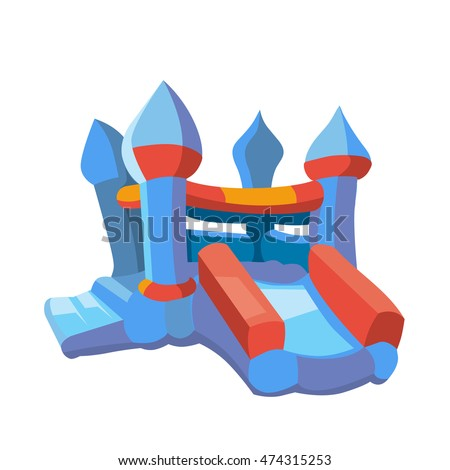 Vector Illustration Of Bouncy Castle On Playground Inflatable Games For Childrens Picture In Modern
