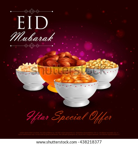 vector illustration of bowl of dry fruits for Eid Mubarak (Blessing for Eid) background