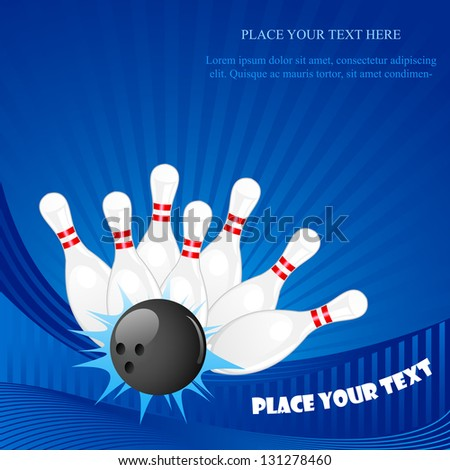 vector illustration of bowling pin with ball against abstract background - stock vector
