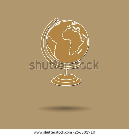 Vector illustration of  box balloon Globe background. - stock vector