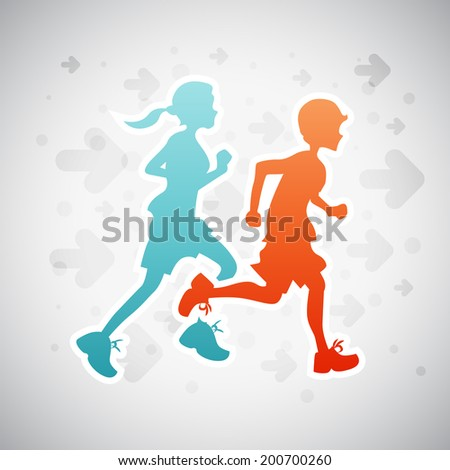 Vector illustration of boy and girl on running exercise. - stock vector