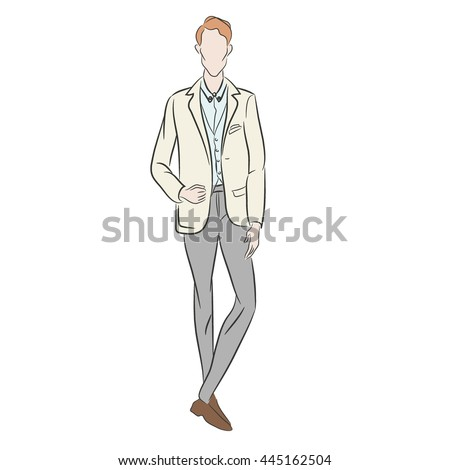 Vector illustration of boy dressed in white suit for his wedding day. Fashion sketch. Man in cute suit. Stylish husband. Couture show. Posing model. Flat style. Just married. Vector design - stock vector