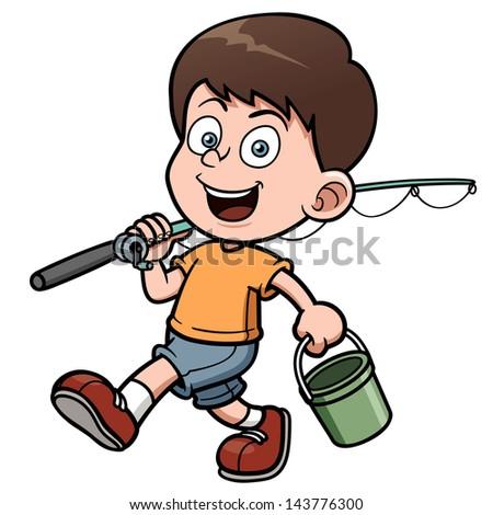 Vector illustration of Boy fishing - stock vector