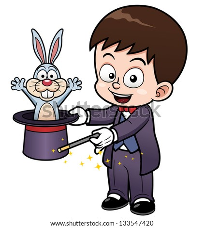 Vector illustration of Boy Magician cartoon