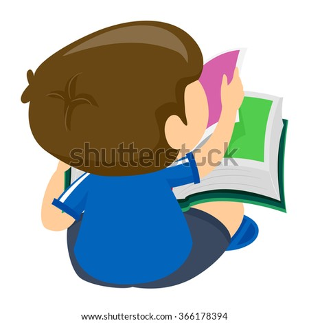 Vector Illustration of Boy reading a Book Back view - stock vector