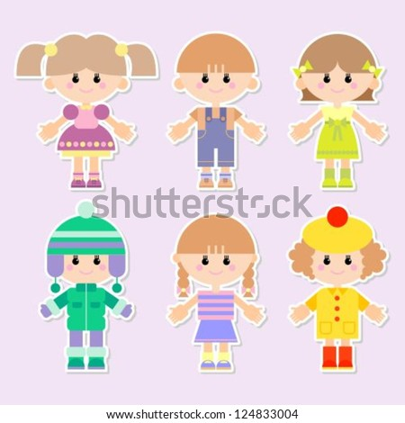 vector illustration of boys and girls - stock vector