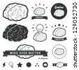 Vector illustration of brain designs & badges. These are iconic representations of creativity, ideas, inspiration, intelligence, thoughts, strategy, memory, innovation, education, & learning. Eps10. - stock photo
