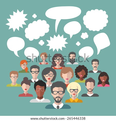 Vector illustration of brainstorming with people and speech bubbles. Vector illustration of business team management in flat style - stock vector