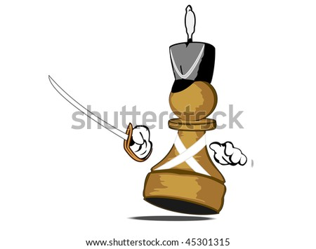 vector illustration of brave pawn with sabre - stock vector