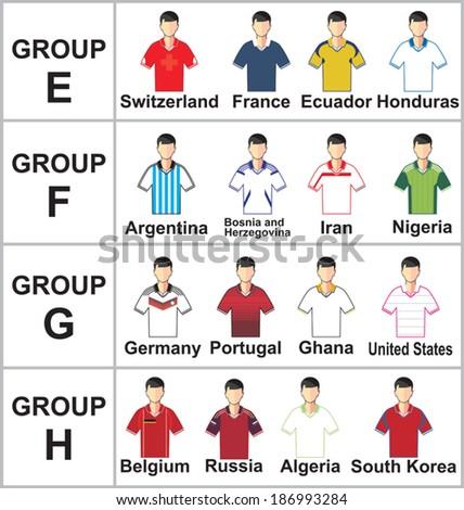 Vector illustration of Brazil 2014 Jerseys Football Kits - stock vector