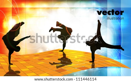 Vector illustration of breakdance - stock vector