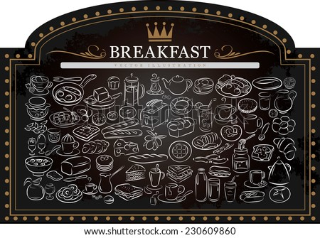 vector illustration of breakfast items on blackboard - stock vector