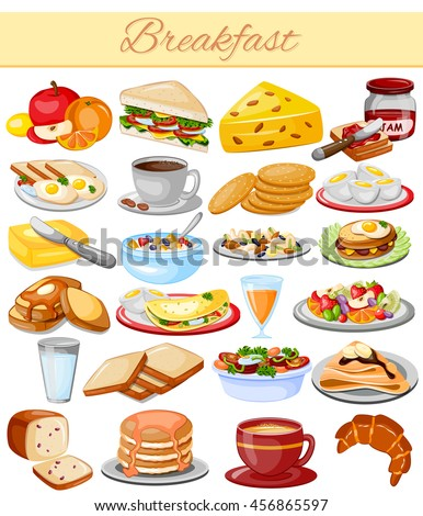 vector illustration of Breakfast Menu Food Collection