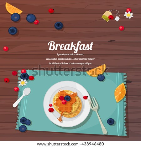 vector illustration of breakfast table with waffles, tea and fresh berries - stock vector