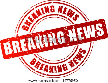 Vector illustration of breaking news red stamp on white background - stock vector