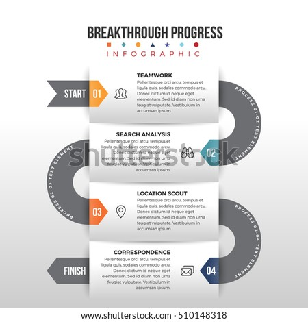 Vector illustration of breakthrough progress infographic design element.