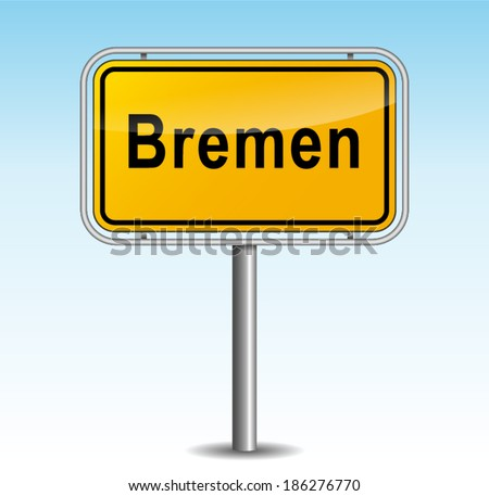 Vector illustration of bremen signpost on sky background - stock vector