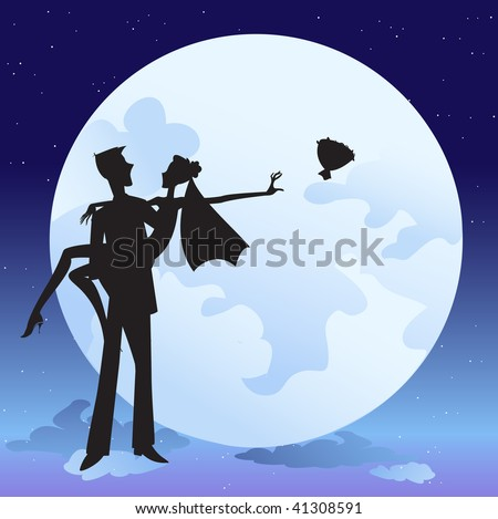 Vector illustration of  bride and bridegroom in  romantic night on the sky background with Giant beautiful full moon